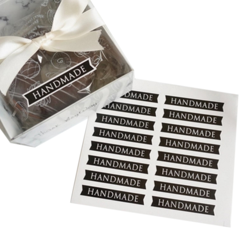 160pcs/lot Long Black Handmade Strip Gifts Sealing Sticker DIY Baking Gift Label Stickers Decorative For Handmade Products
