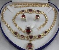 RHJ0001 women's jewelry rubine 18KGP Earring Bracelet Necklace Ring pendant Free Shipping USPS to USA