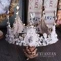Круглый ручной работы бусы Европейский хрустальная корона Vintage стекло КОРОЛЕВА КОРОНА невесты диадемы свадебные аксессуары