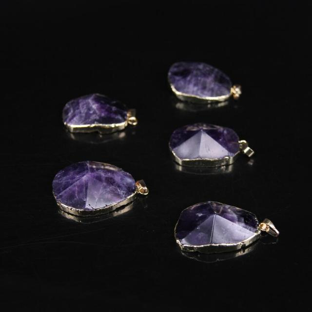 US $18 38 8% OFF|5pcs/lot,Natural Amethysts Faceted Slab Pendant,Gold edged  with Purple Quartz Crystal Freeform cut Slice Oval Pendant Necklace-in