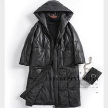 New Female Warm Genuine Leather Coats Hooded Long Sheepskin Down Coat Women's Qualuty Leather Trench