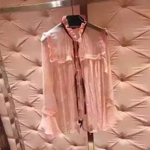 FSS022 pearl button thin silk shirt suspenders/women's pink bow shirts/women silk shirts/lady bow blouses/pink sleeve blouses