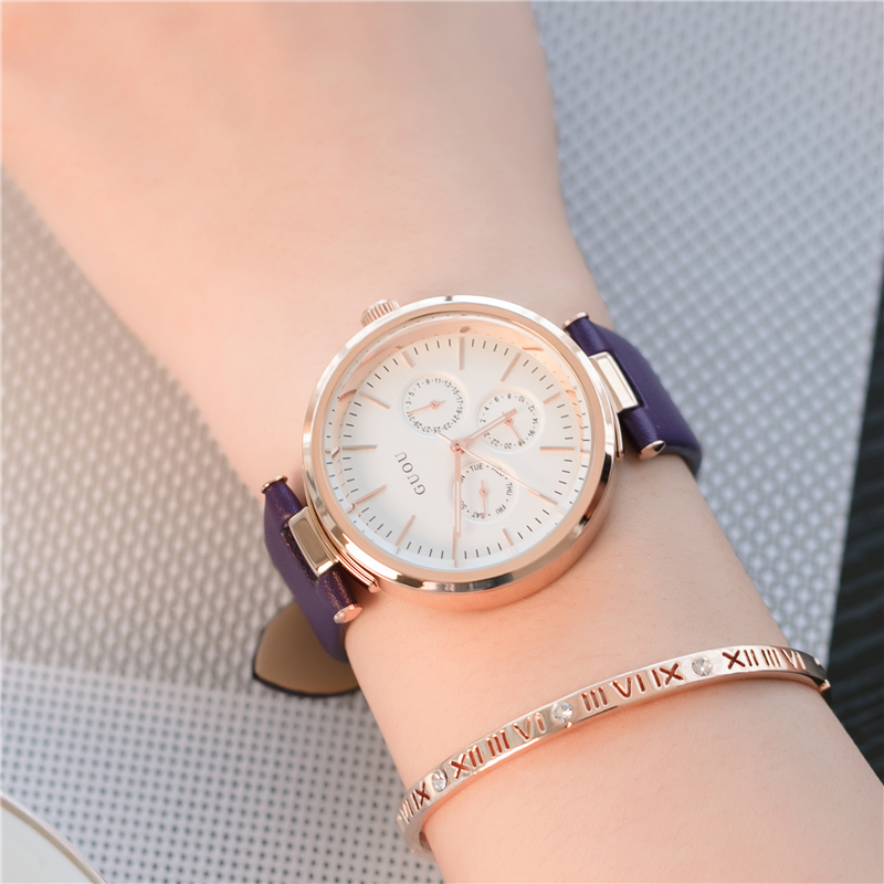 HK GUOU Top Brand Quartz Ladies Watch Black Leather Fashion Dress Wrist Watches for Women Rose Gold Female Clock zegarki damskie tshing ray fashion women rose gold mirror cat eye sunglasses ladies twin beams brand designer cateye sun glasses for female male