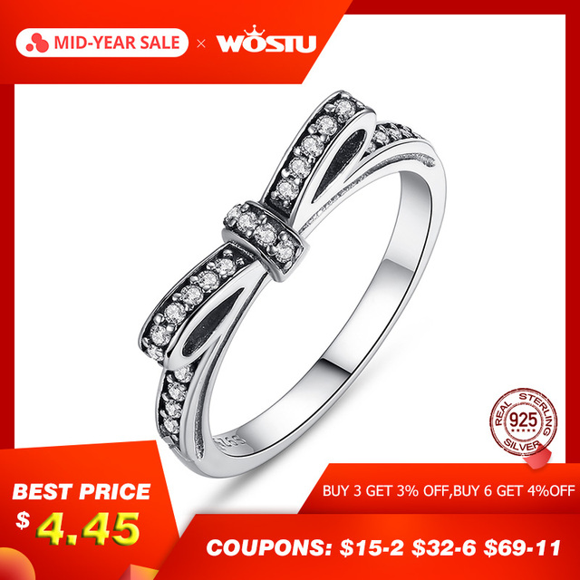 Fashion European Authentic 100% 925 Sterling Silver Bow Knot Wedding Ring With Crystal Original Jewelry XCH7104