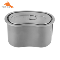 TOAKS Titanium Military Lunch Box Titanium Canteen Cup with Lid Backpacking Titanium Military Pot 950ml GC 950