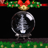 80mm Crystal Ball for 3D Laser Engraved Miniature Christmas Tree Glass Globe Crystal Craft Sphere Christmas Decor Gift Ornament