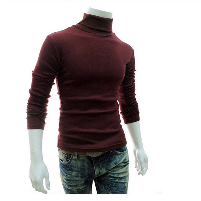 New Turtleneck Solid Color Casual Sweater Slim Fit Brand Knitted Pullovers 2