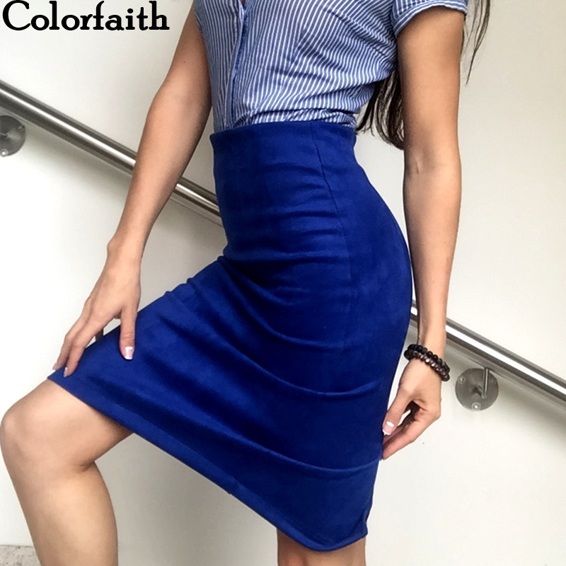 Multi colors 2017 Women Skirt Winter Solid Suede Work Wear Package Hip Pencil Midi Skirt Autumn