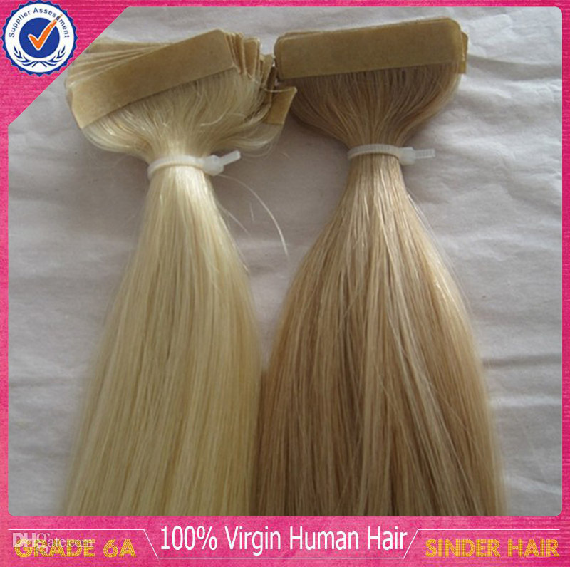 16 24 40pcspack Tape Hair Extensions Indian Remy Pu 100 Human