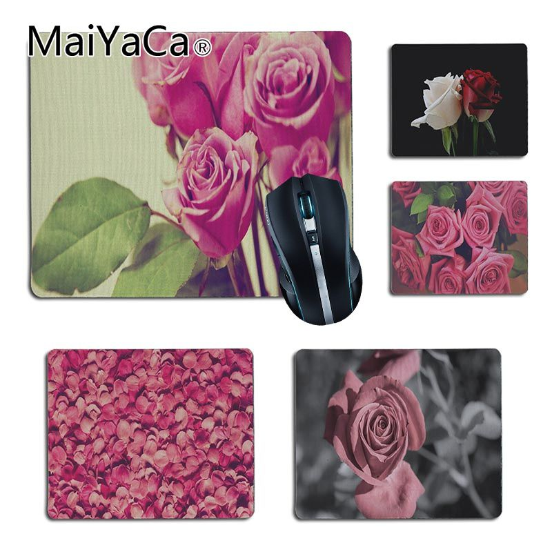 MaiYaCa Personalized Cool Fashion Red Rose Pink Rosejpg gamer play mats Rubber Mouse pad Size for18x22cm 25x29cm Small Mousepad