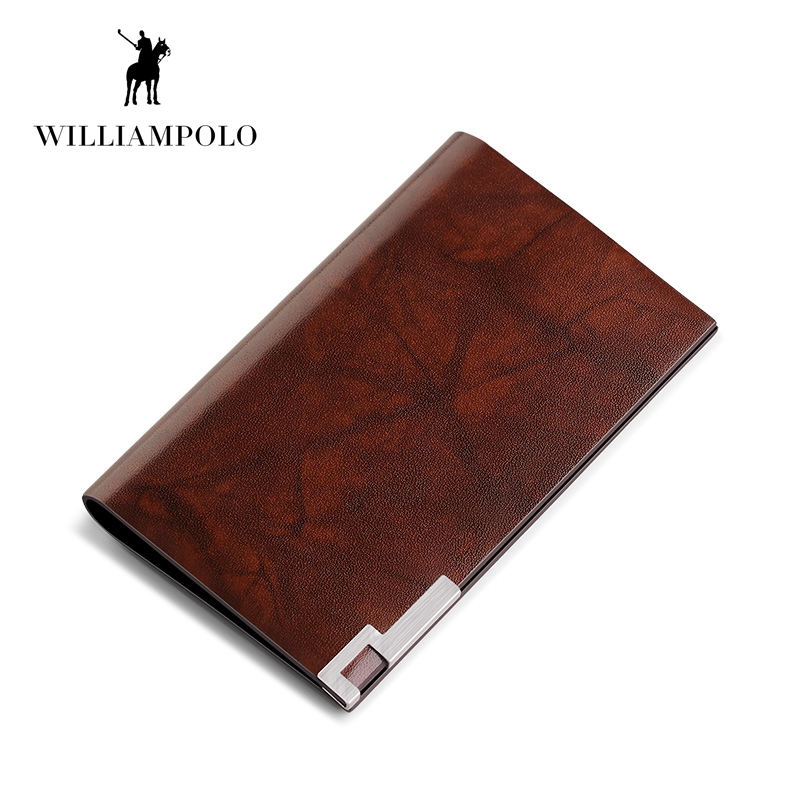 WILLIAMPOLO 2018 Fashion 100% Real Leather Card Holder Metal Wallet Credit Card Case POLO185142 montessori education wooden toys four color game color matching early child kids education learning toys building blocks