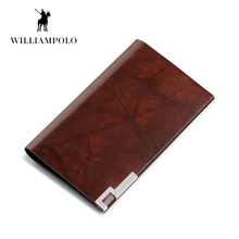 WILLIAMPOLO Fashion 100% Real Leather Card Holder Metal Wallet Credit Card Case PL185142(China)
