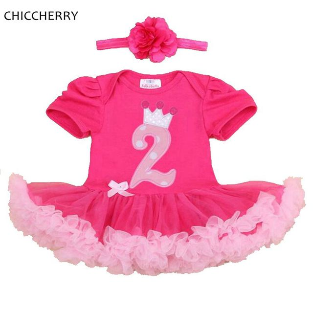 Hot Pink Crown 2 Years Birthday Dress Infant Lace Tutu Party Dress Headband Vetements Bebe Kids Outfits Children Clothing