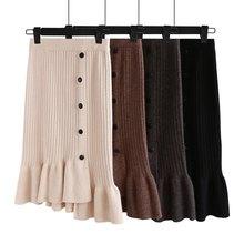 GIGOGOU, винтажные женские юбки, высокая талия, эластичная лента, длинная трикотажная юбка, ассиметричная, Русалочка, толстый теплый свитер, юбка, Осень-зима