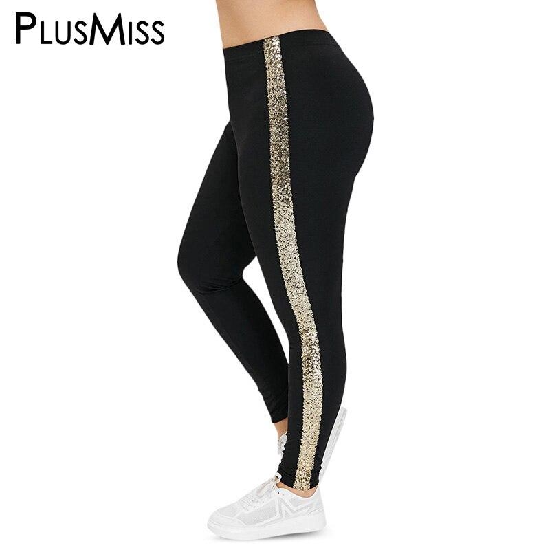 PlusMiss Plus La Taille Taille Haute Sequin Skinny Leggings Femmes Grande Taille Fitness Jeggings Dames Leggins 2019 Legins XXXXL XXXL XXL