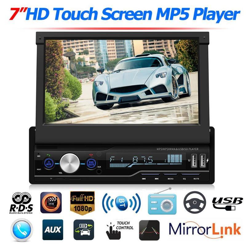Écran capacitif HD T100 7 pouces voiture vidéo Bluetooth mains libres voiture stéréo MP5 lecteur RDS FM AM Radio BT USB AUX unité de tête