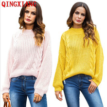5 Colors S-XL Women Lazy Style Solid Yellow Capes Loose Poncho 2019 Autumn  Knitted Bat Sleeves Sweater Twisted O Neck Pullover yellow sexy pullover bat sleeves loose jumper
