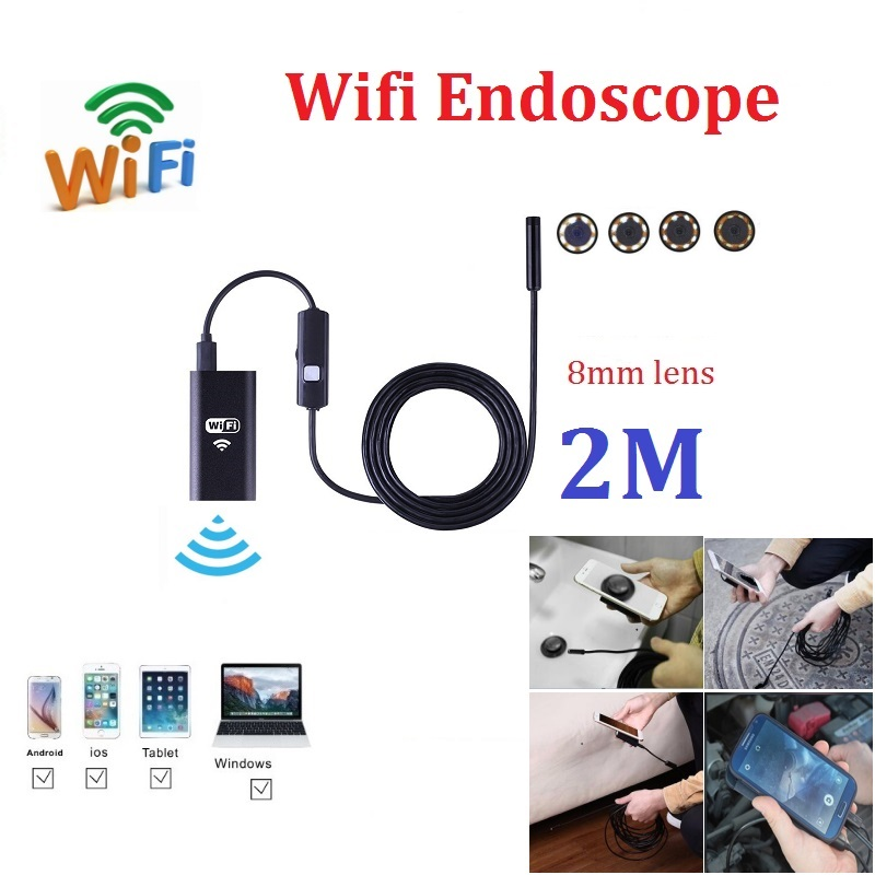 2M Wifi Endoscope Camera Iphone Android Borescope Waterproof Camera Endoscopic soft wire iOS Wifi Camera wifi 4 9mm lens ear nose medical usb endoscope borescope inspection otoscope camera for ios android pc