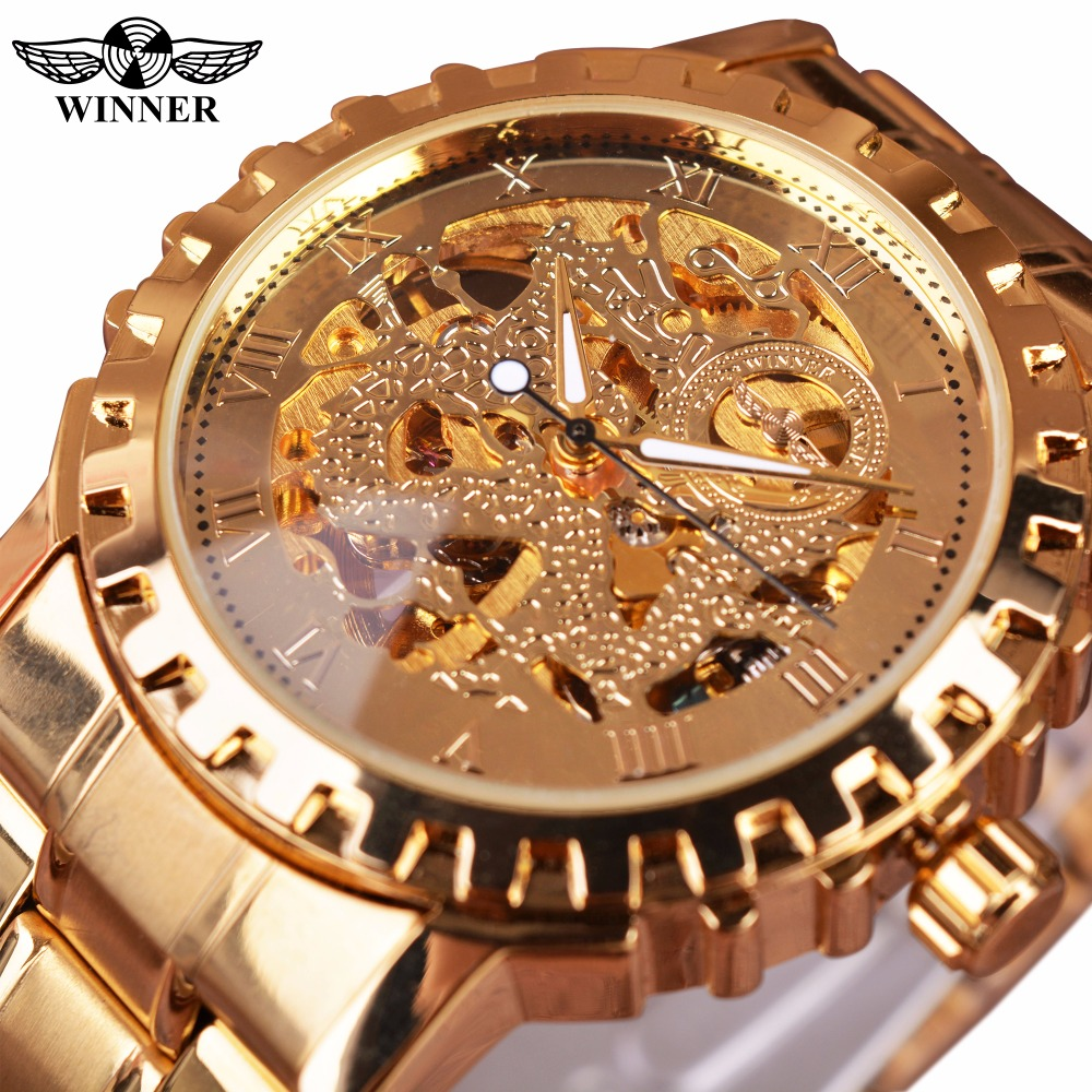 Winner 2016 New Series Gear Bezel Fashion Casual Design Full Gold Watch Men Top Brand Luxury Automatic Watch Clock Men Montre bio henna premium тестер хны для бровей цвет кофейный