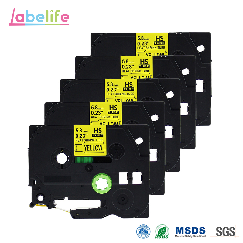 Labelife 5 Pack HSE-611 Black on Yellow 5.8mm Heat Shrink Tubing for Brother Printable Label Tape for Telecom & Industry