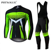 Phtxolue Pro Cycling Jersey Set Long Sleeve Mountain Bike Clothes Wear Men Racing Bicycle Clothing Ropa Maillot Ciclismo phtxolue long sleeve pro cycling set 2017 maillot ciclismo mtb jersey bike wear clothes summer cycling clothing men