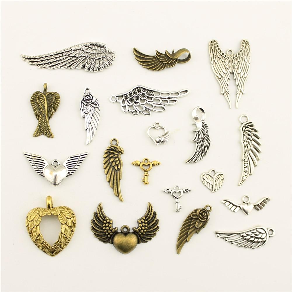 10 pçs moda jóias fazendo asas de anjo jóias achados componentes pingente charme