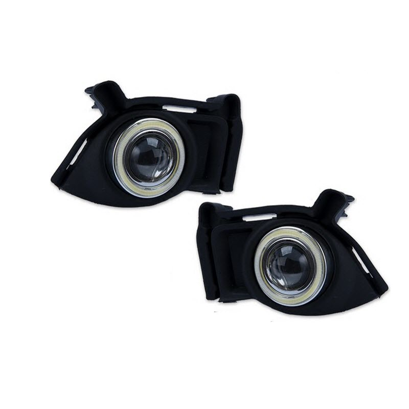 LED COB Angel Eyes DRL Yellow Signal Light H11 Halogen / Xenon Fog Lights with Projector Lens For Toyota Highlander 2014 2015