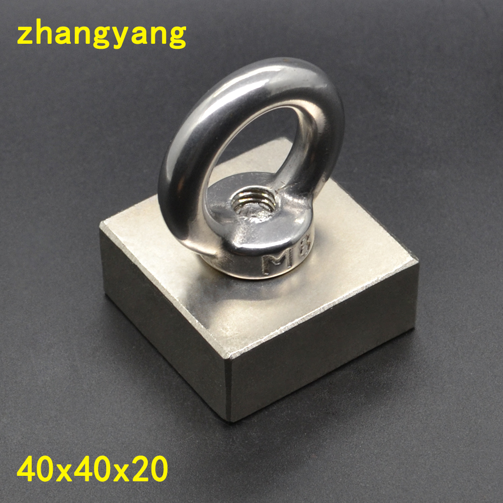 купить 1PCS Pulling Mounting 40x40x20 mm strong powerful neodymium Magnetic Pot with ring fishing gear salvage magnet real 37*37*17mm