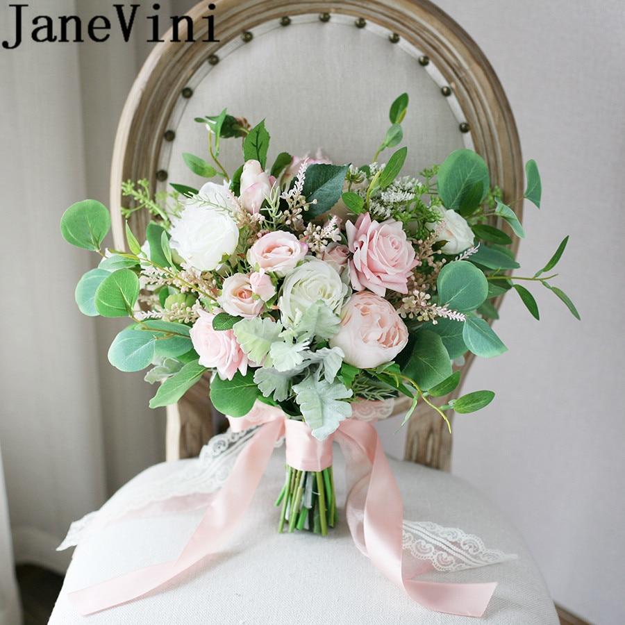 White Flower Wedding Bouquet: JaneVini Fresh Pink White Rose Bride Bouquet Green Leaf