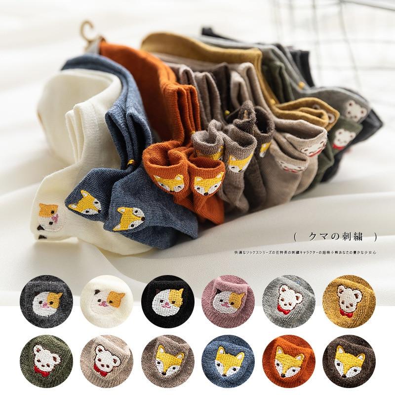 Fashion Soft Cute Fox Heart Cartoon Embroidery Cotton Women   Socks   Cool Summer Autumn Lovely Animal Kitty Bear Ankle Boat   Socks