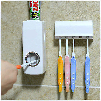 Automatic Auto Toothpaste Dispenser Toothbrush Holder Set Wall Mount Stand
