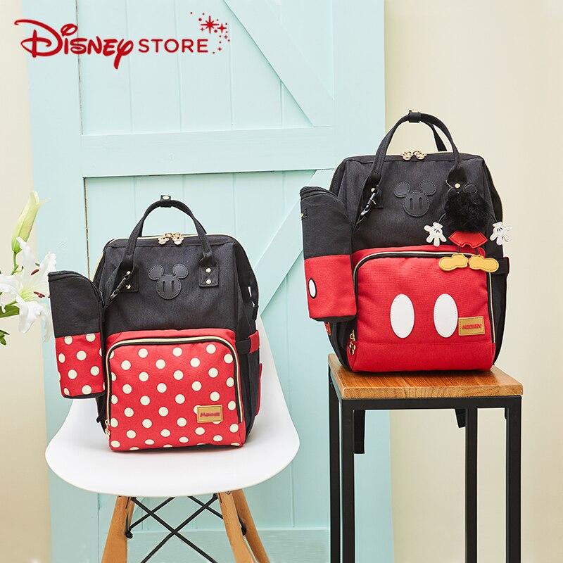Disney Minnie Mickey Classic Style Diaper Bags 2PCS/SET Mummy Maternity Nappy Bag Large Capacity Baby Bag Travel BackpackDisney Minnie Mickey Classic Style Diaper Bags 2PCS/SET Mummy Maternity Nappy Bag Large Capacity Baby Bag Travel Backpack