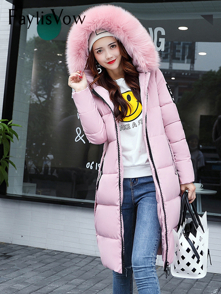 Women's Winter Cotton Jackets And Coats Casual Loose Fur Hooded Outwear   Parka   Women Slim Solid Long Sleeve Overcoat Plus Size