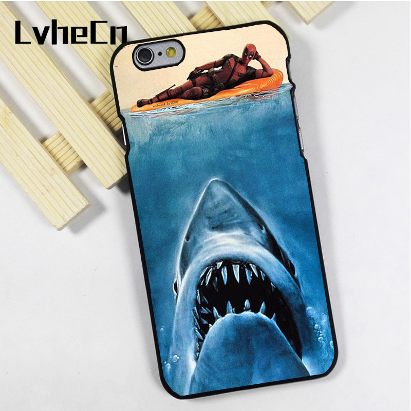 LvheCn phone case cover fit for iPhone 4 4s 5 5s 5c SE 6 6s 7 8 plus X ipod touch 4 5 6 Deadpool Marvel Funny Jaws Art