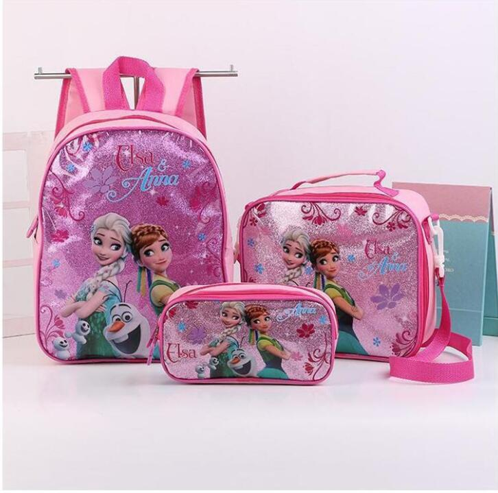 Elsa Anna Princess Backpack School Bag With Lunch And Pencil Case Set 3 For Kids Kindergarten Preschool School Toddler Bags