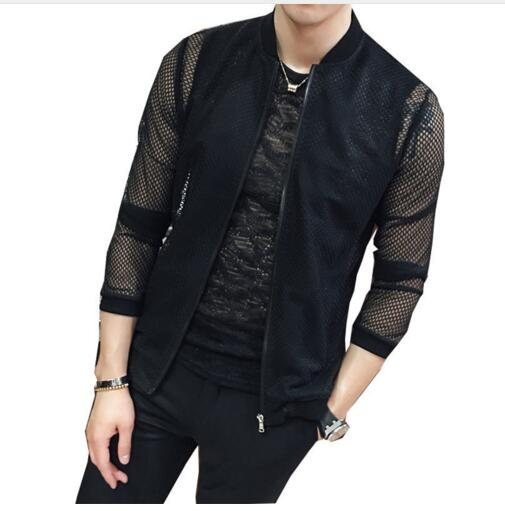 Zipper Shirt Men  New  Lace Shirt Club Outfit Party Transparents Shirt Slim Fit Mesh See Through Shirt Sun protection clothing Рубашка