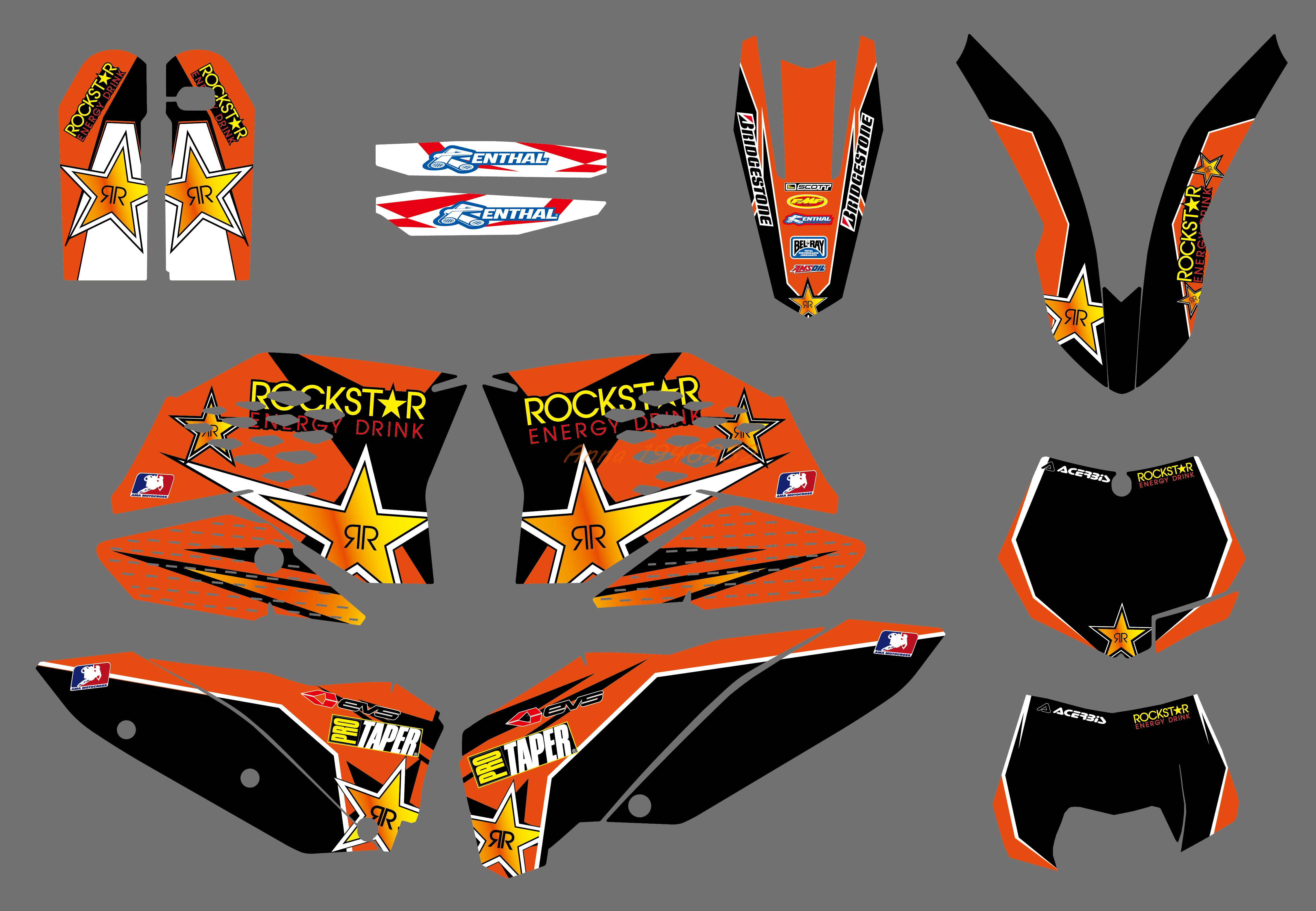 NEW Style TEAM GRAPHIC WITH BACKGROUNDS DECAL STICKER FOR KTM 125 250 300 350 450 525 SX SXF 2007 2008 2009 2010-in Decals & Stickers from Automobiles & Motorcycles    1