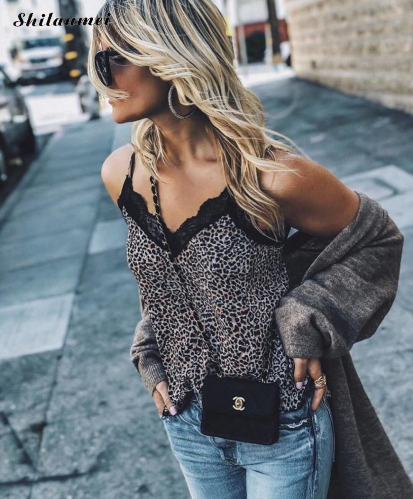 Sexy Woman Blouse V Neck Leopard Printed Snake Skin Pattern Lace Blouse Shirt Clothing Women'S Top Blouses Lady Blouses