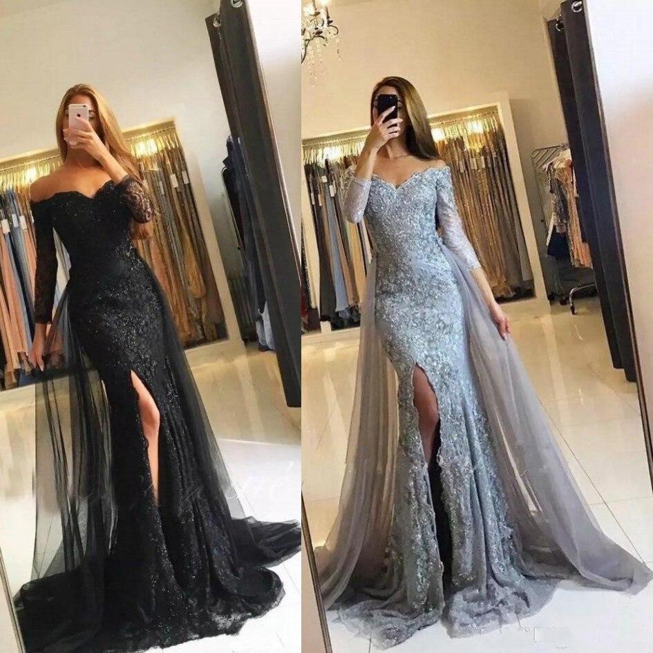 Скромные кружевные вечерние платья с аппликацией, с открытыми плечами, тюль, корсет со шнуровкой, вечерние платья, вечерние платья, Русалка, ...