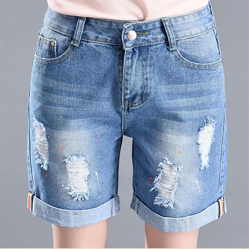 Plus Size 2019 Summer Shorts For Women Loose Cuffs Straight Short Jeans Lady Denim Pants Stretch Women Trousers Calca Feminina