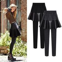 plus size 6XL Winter plus velvet large size PU leather fake two pants skirt pants leggings pleated skirt leggings