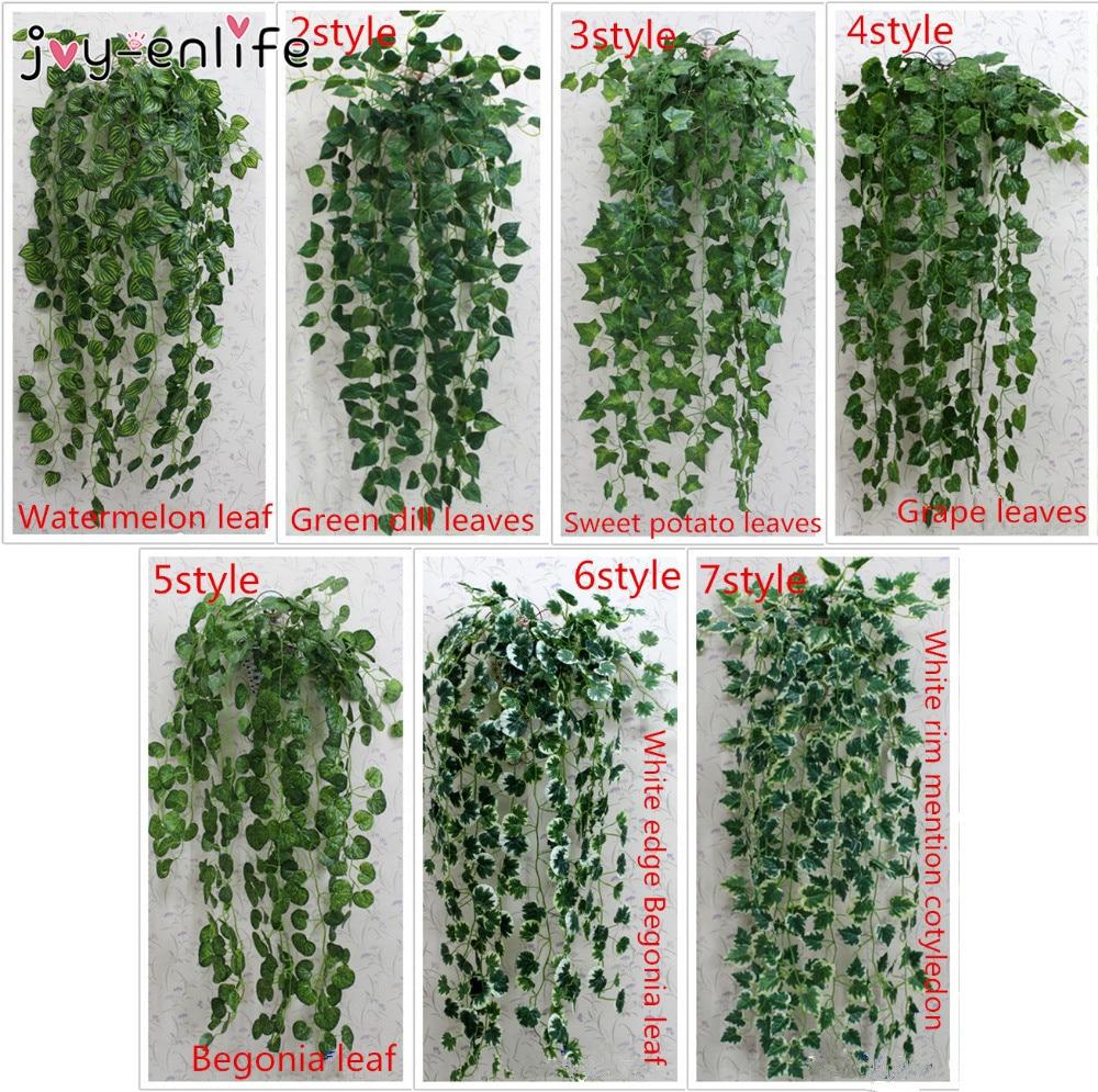 1 ชิ้น 90 เซนติเมตรประดิษฐ์ไม้เลื้อยใบพืชเทียมสีเขียวพวงมาลัยพืชเถาใบไม้ปลอมตกแต่งบ้านงานแต่งงานตกแต่ง