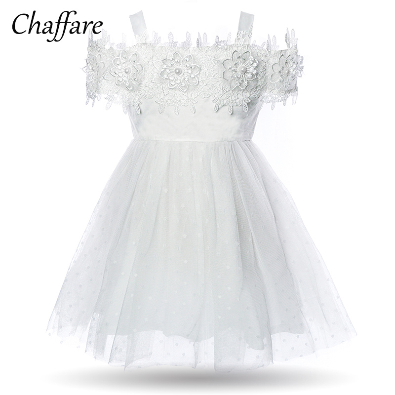 Chaffare Baby Girl Dresses Infant Girls Baptism Dress White Cute Birthday Christening Dot Formal Newborn Outfit 2018 Fancy Frock