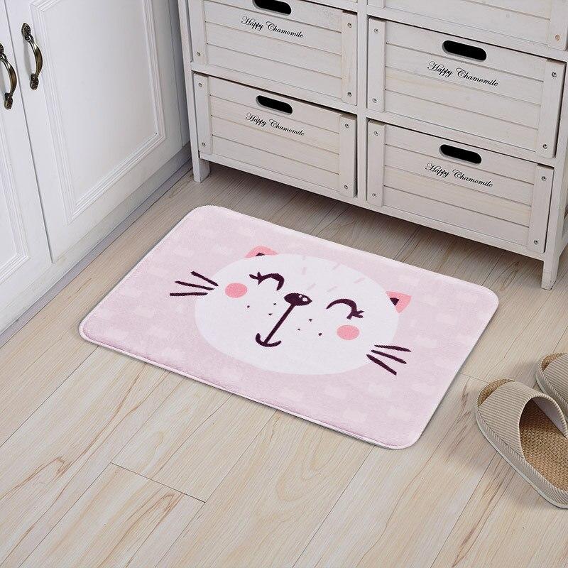 Cute Cartoon Panda Cat Print Kids Carpets Anti-Slip Kitchen Dining Bedroom Floor Mat Home New Year Decor Gift Welcome Tapete Rug