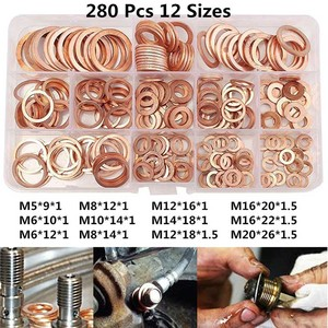 Image 1 - 280Pcs/Set Seal Assortment Set Copper Washer Gasket Nut Oil Copper Rings Discs MAL999