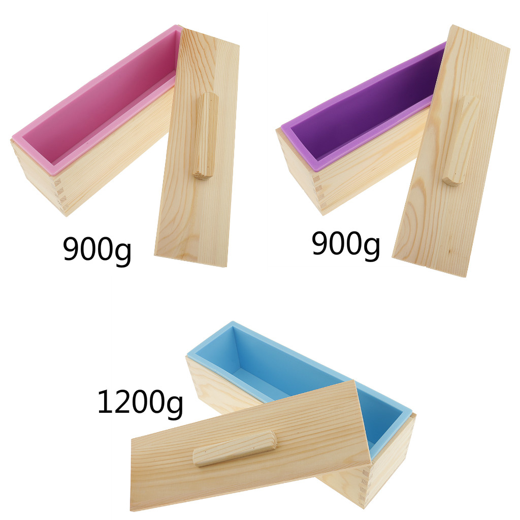 Silicone Soap Mold With Wooden Box Rectangular Bread Mould 3 Types Optional