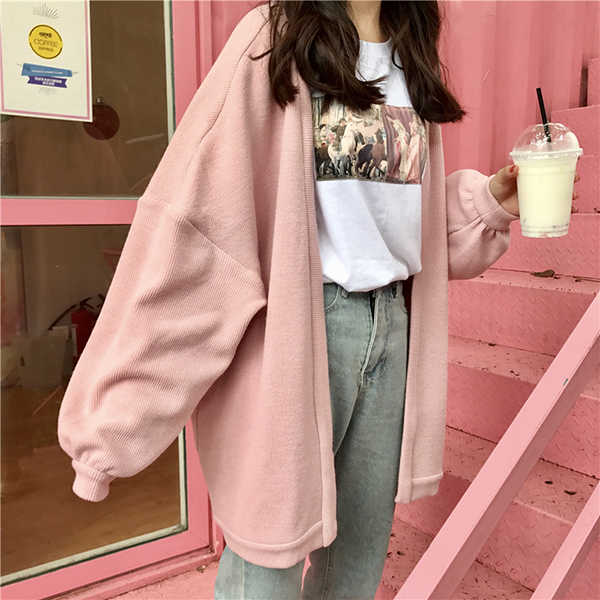 Autumn and winter. All-match tide loose ulzzang Harajuku wind BF long paragraph sweater cardigan coat thick female