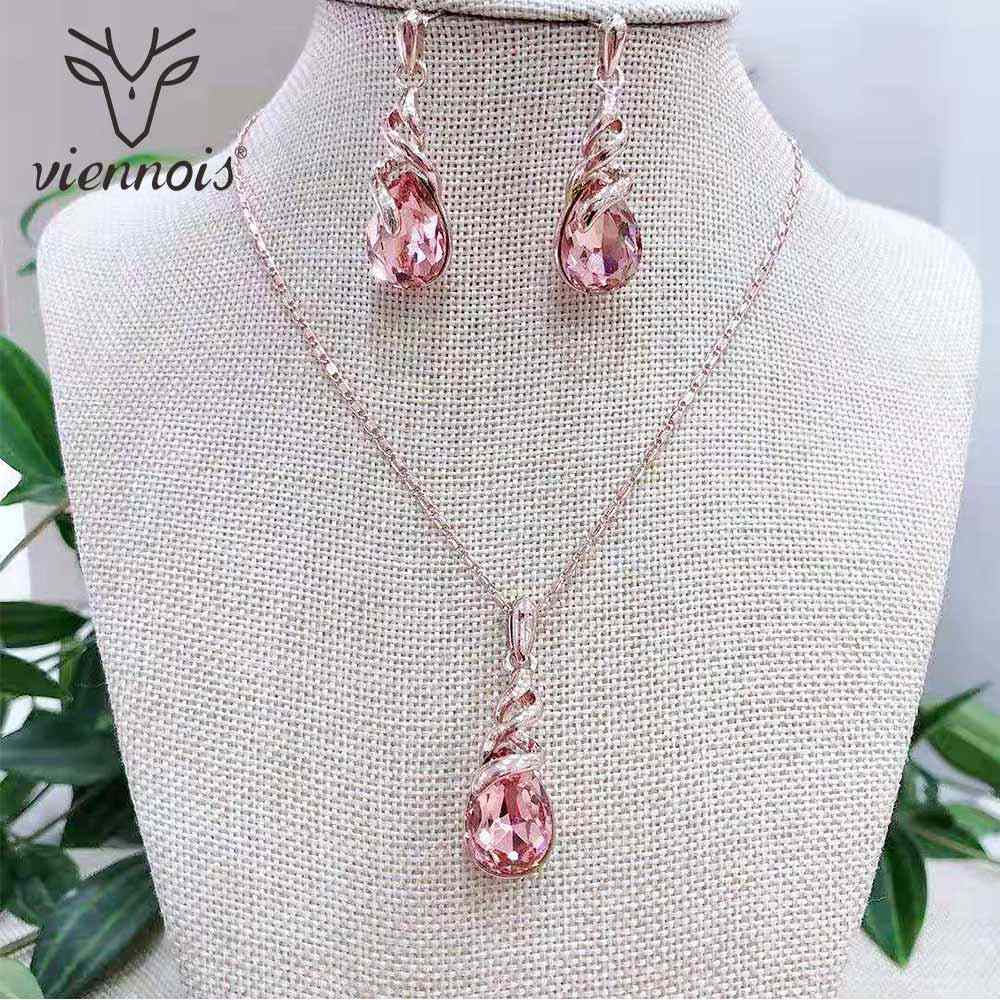 Viennois Rose Gold Crystal Jewelry Sets For Women Wedding Bridal Pendant Necklace Dangle Earrings Set 2019