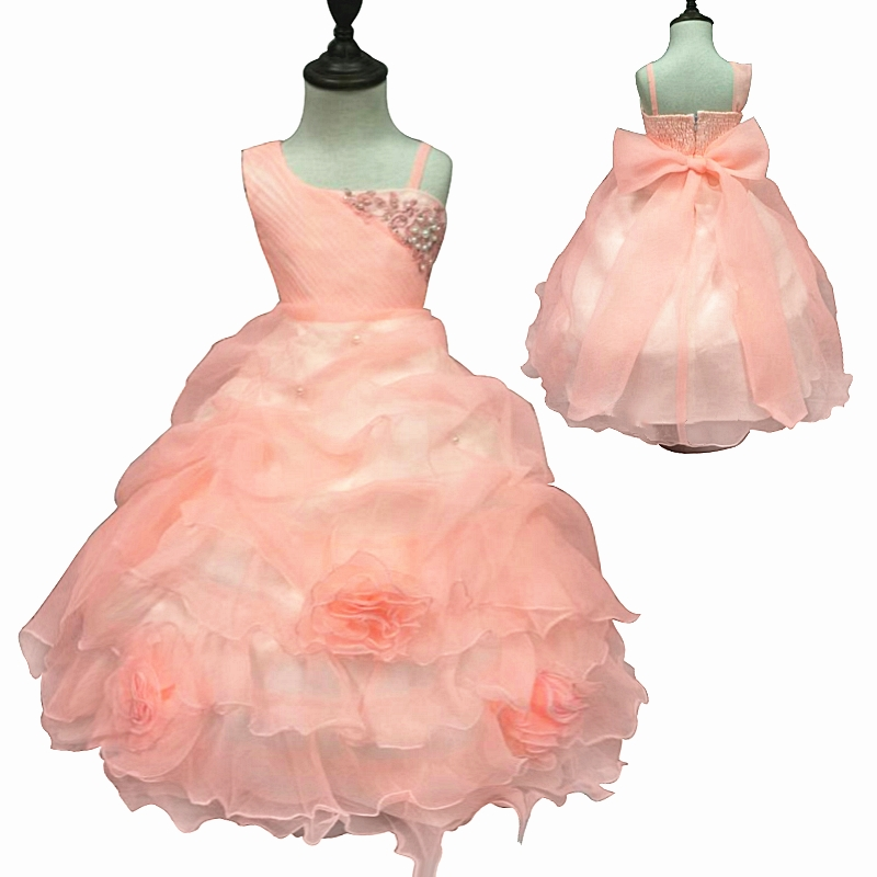 Hot Sales 4-12 Years One Shoulder Girl Party Dresses 2018 New Style Pageant Ball Gown For Girls Peach Flower Girl Dress Factory 4pcs new for ball uff bes m18mg noc80b s04g