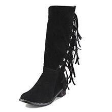 Big Size 33-50 4 Colors Tassel Metal Charm Mid Calf Women Boots Zip Thick Heels Female Footwear Nubuck Fall Winter Boots